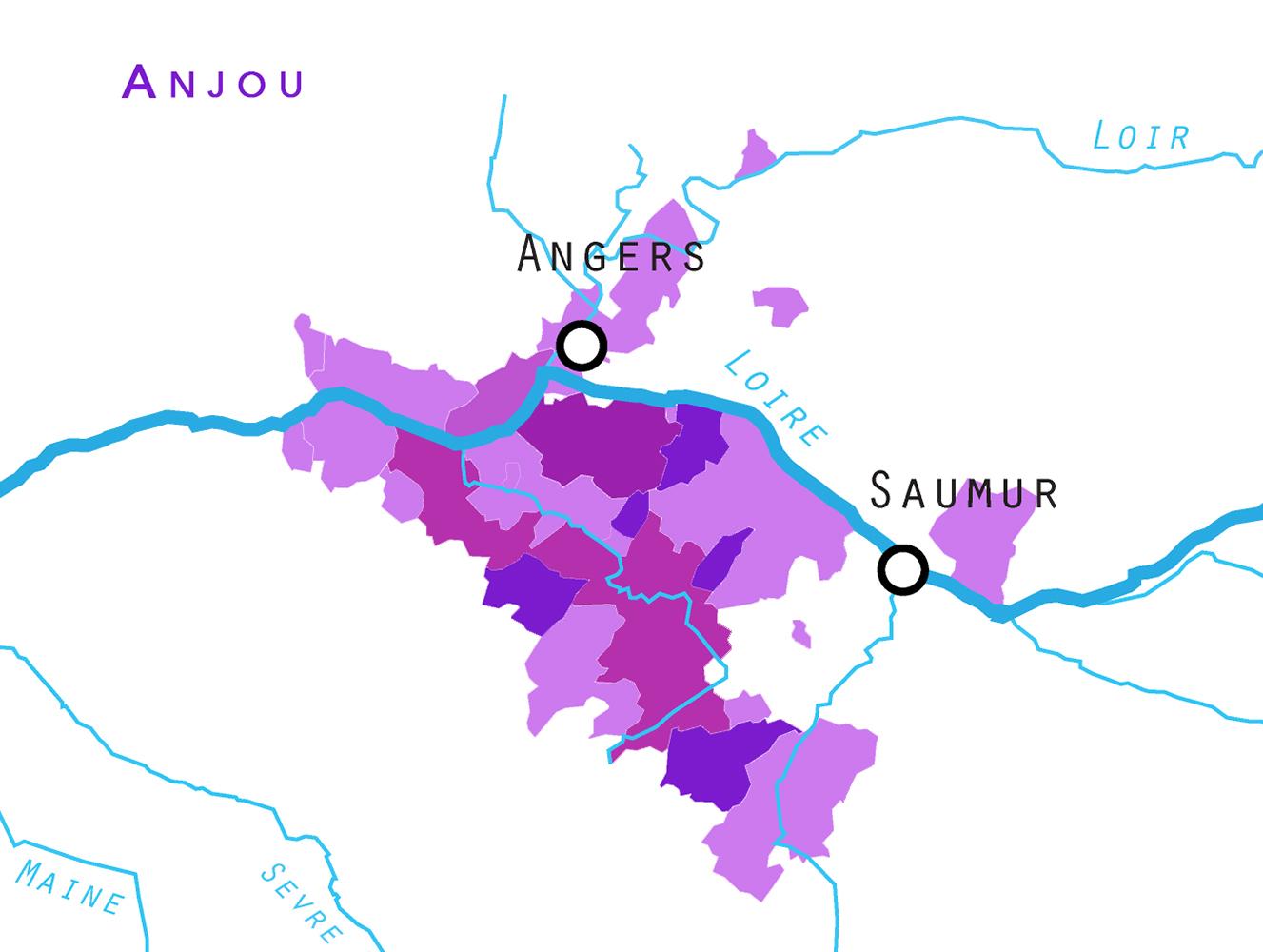 Anjou, Saumur, Savennieres, Wijnwerk, Loire wijnen, Loirewijn, wijnstreken, terroir, cepages, druiven, druiven ras, geologie, klimaat, AOC, Appelation